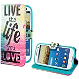 DeinPhone coque de protection pour samsung galaxy s3 mini étui de protection en cuir à rabat live the life you love