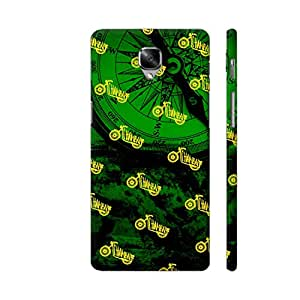 Colorpur OnePlus 3 Cover - The Chambal Bike On Green Printed Back Case