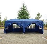 Homcom Tonnelle tente de reception pliante pavillon chapiteau barnum 3 x 6 m bleu cote demontables 41