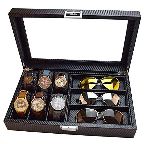 SHOUNHEZ Carbon Fibre 6-Bit-Uhr + 3-Bit-Brille Aufbewahrungsbox/Sonnenbrille Speicher Display-Box, tragbar und langlebig