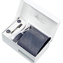 Cravatta per uomo realizzata a mano con filato di poliestere, lunghezza regolabile con coppia di gemelli per camicia, fazzoletto da giacca, fermacravatta, confezione regalo