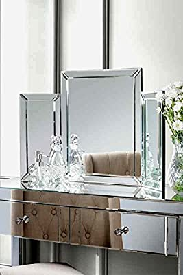 Mirrored Bedroom furniture-Triple Folding dressing table mirror - COLLETA - inexpensive UK dressing table store.