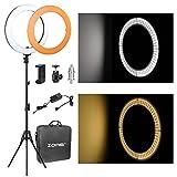 """Flash Ring Light, Zomei Stepless Dimming 18""""/ 46cm 58W 5500K LED Ring Light con supporto leggero, mini testa a sfera e adattatoredi illuminazione per video Youtube, Makeup Shooting, Ritratto"""