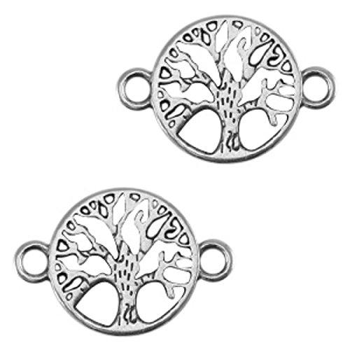 Sadingo 1 x DQ Metall Schmuckverbinder, Anhänger Lebensbaum - 22 x 15 mm - Zamak - Farbe wählbar - Schmuck basteln, Farbe:Silber