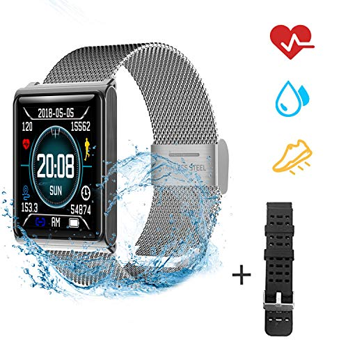 OOPPEN Smart Watch Impermeabile IP67 Activity Tracker Fitness cardiofrequenzimetro Pedometro Sonno Monitor Cronometro SMS Chiamata Notifica remota Telefoni Android iOS +1 Replaceable Watch Strap