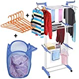 TNC double pipes supports Drying Stand with wheels (blue) Stainless Steel Floor Cloth Dryer Stand (Blue)