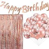 Cebelle Décorations fête d'anniversaire Or Rose, Fournitures Scintillante bannière d'anniversaire Suspendue, 20 Ballons confettis, 3.3 X 6.6ft Foil Frange Rideaux Photo Backdrop pour Filles