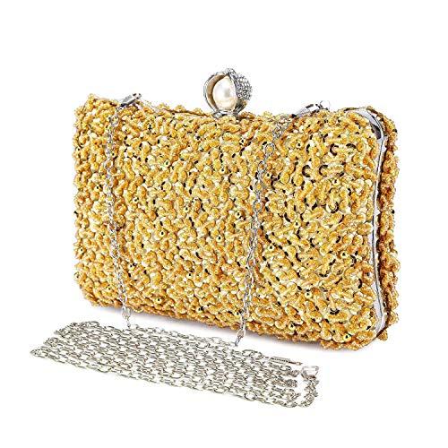 Abendtasche Damen Perle Clutch Bag Kette Shiny Pailletten Handtasche Klein Umhängetasche für Hochzeit Party - Gold (Gold Abend Tasche)