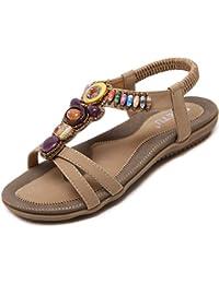 katliu Sandalias de Mujer con Cuentas Verano Bohemia Zapatillas de Playa Planos Chanclas Étnico Zapatos