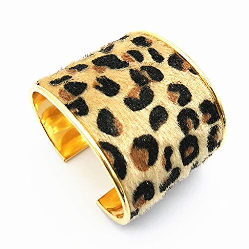 QY-NINHAO Wild Punk Leopard Print Pferdehaar Leder breite Manschette Armbänder Anweisung Schmuck