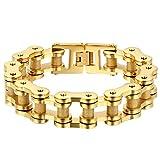 Oidea Armband für Herren Armkette Edelstahl groß Poliert Gold