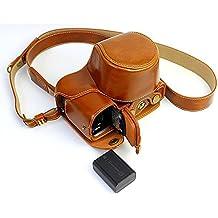 Protección completa inferior abertura de la caja Versión PU de protección de la cámara del bolso de cuero con el trípode Diseño compatible para Sony ILCE6000 A6000 con la correa del cuello del hombro de la correa de Brown
