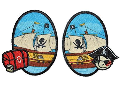 Preisvergleich Produktbild 2 tlg. Set ovaler Flicken / Bügelbild - Piraten u. Piratenschiff - 8,5 cm * 10 cm - oval - Bügelbilder - Aufnäher zum Bügeln und Aufnähen / Applikation für Jungen Kinder Pirat