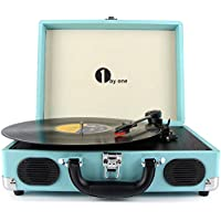 1byone Belt-Drive 3-Speed Portable Vinyl Turntable with Built in Speakers, Supports RCA Output / Headphone Jack / MP3 / Mobile Phones Music Playback, Turquoise