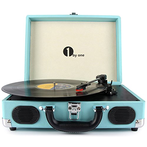 1byone Belt-Drive 3-Speed Portable Vinyl Turntable with Built in Speakers, Supports RCA Output / Headphone Jack / MP3 / Mobile Phones Music Playback, Turquoise Test