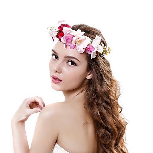 Gmin Mujer Flor del Tocado,Flor de Pelo Cabeza para Mujeres Amigas Boda Playa etc Hecho a Mano(Multicolor) Venda del Pelo Cinta para Cabeza (Rosa)