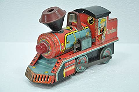Vintage 0741 Daiya Trademark Litho Fairyland Train Engine Tin Toy , Japan