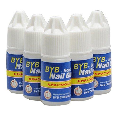 Lot de 5 flacons de colle à ongles transparente, pour manucures, faux ongles, strass et autocollants