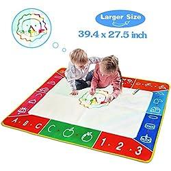 Alfombrilla de dibujo de agua, tamaño grande de 100 x 70 cm, multicolor, sin ensuciar, con 3 bolígrafos mágicos y 8 sellos; juguete educativo, regalos de cumpleaños para niños y niñas a partir de 2 años
