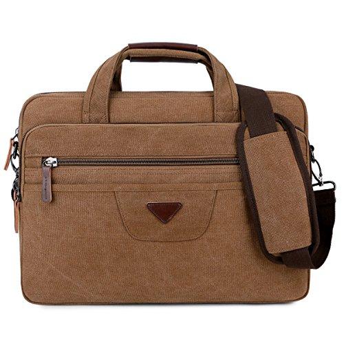 BAOSHA BC-09 Vintage PU Leder Herren Aktentasche Businesstaschen Laptoptasche groß passend für 14 ~ 17 Zoll Laptop Notebook Männer Arbeitstasche Umhängetasche Schultertaschen Henkeltaschen (Kaffee)