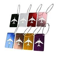 Xpassion Etiquetas del equipaje del viaje de aleación de aluminio,8 piezas con diferentes colores del bolso del equipaje de la maleta (8 Colores)