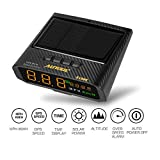 AUTOOL Solare GPS HUD Tachimetro Cruscotto Head Up Display MPH / KMH con Altitude Over Speed Alarm Drive Distanza Display Fatica Allarme di guida per tutti i veicoli, ricarica OBD2 e ricarica USB disp