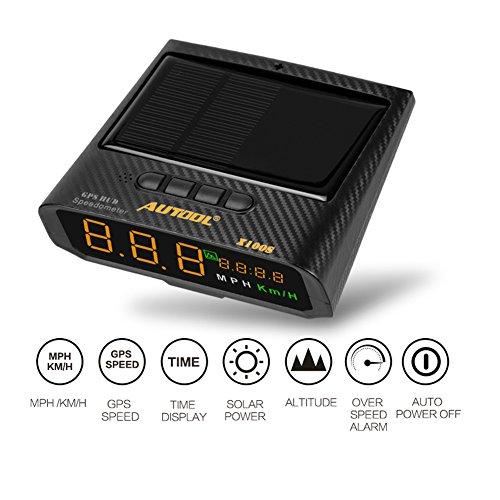 autool Solar GPS HUD Tacho MPH/kmh mit Höhe über Geschwindigkeit Alarm Drive Distanz Ermüdung fahren Alarm für alle Fahrzeuge, OBD2Ladekabel & USB Ladegerät - Gps-auto-tacho