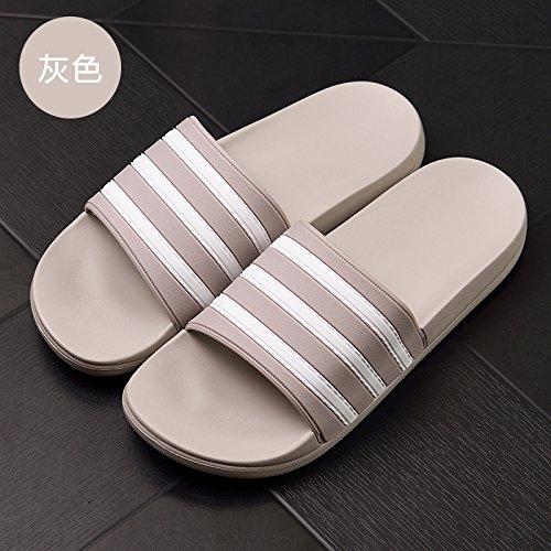 DogHaccd pantofole,Le stanze da bagno dispongono di una vasca da bagno pantofole estate uomini antiscivolo strisce di moda coppie camera, home stay cool pantofole Grigio4