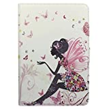 iPad mini /mini 2 Case,Cristal Shinning diamant papillon et Style fille Flip Cover Case Housse de Protection Etui Pour Apple iPad Mini et iPad Mini with Retina Display (2nd Generation) Coque en PU Cuir Étui Protecteur avec Stand Supporter (Fée papillon)
