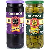 Olicoop Black Pitted Olives 450g + Green Pitted Olives 450g, Pack of 1 Each