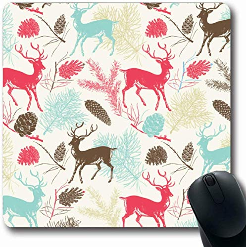 Luancrop Mousepad Oblong Moose Christmas Deers Clip Hirsch Noel Tree Old Winter Elk Design Büro Computer Laptop Notebook Mauspad, Rutschfester Gummi -