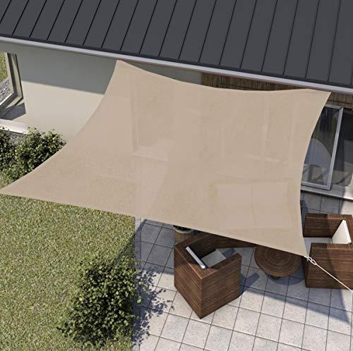 wip Sonnensegel sand 3,6x3,6m Quadrat HDPE 185g/m² Sonnenschutz Beschattung für Terrasse