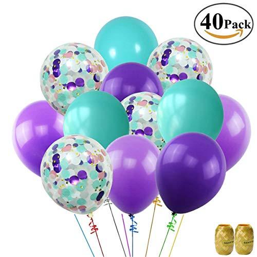 Erosion Mermaid Balloons 40 Pack, 12 Zoll Light Dark Purple Seafoam Blaue Latexballons mit Konfetti-Ballon für Meerjungfrau-Partydekorationen Geburtstagsparty liefert mit Band