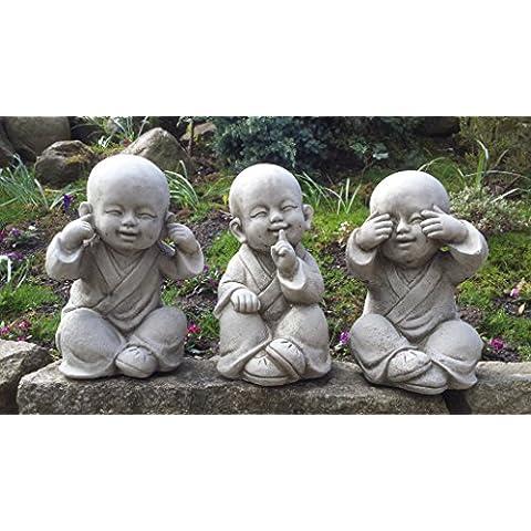 Buddha parlare, vedere, non sento–Set di 3in pietra ornamentale da giardino/Statua/Scultura/Koi