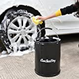Portable Lavage de voiture Seau Noir Pêche Bateau Camping de nettoyage 13L multiusage rétractable pliable Water-black