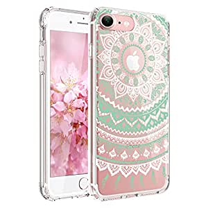 iPhone 6 Case, iPhone 6s Case,JAHOLAN TPU Silicone Gel Soft Clear Case Cover for Iphone 6 6S - White Mint Tribal Mandala