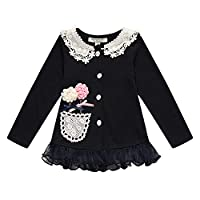 Richie House Girl's Knit Cardigan with Flower Details RH1431-C-02-3/4