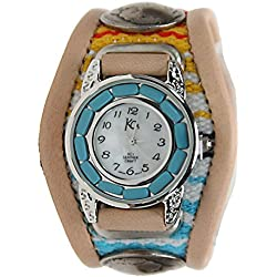 Kc,s Leather Craft Watch Bracelet Turquoise Movemnet 3 Concho Inlay Multi Sarape Color Tan