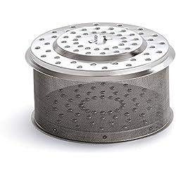 LotusGrill Edelstahl Kohlebehälter Serie 435 XL, Silber, 20,7 x 20,5 x 13,2