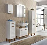 Badeinrichtung, Badezimmereinrichtung, Badmöbel, Komplettset, Badezimmerausstattung, Hochglanz, weiß, Eiche, Spiegelschrank, modern, retro