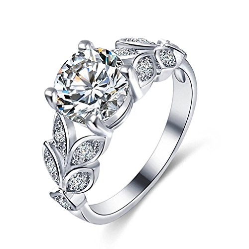 FEITONG Damen-Ring Blätter Strass Zirkonia Ringe Legierung Rings Verlobungsring Edelstahl Schmuck (Größe:6, Silber)