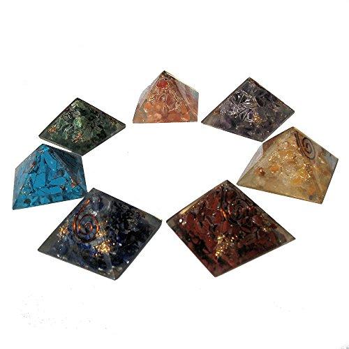 Collection de 7 pyramides en orgonite (3cm x 3cm) avec Cristaux de 7 chakra et pochette, Générateur d'énergie orgone pour Reiki, Guérison et protection EMF