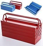 Werkzeugkoffer Werkzeugkasten Werkzeugkiste Stahlblech Werkzeugbox rot blau 7 Fächer (430 rot)