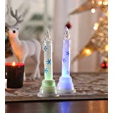 Itiha Christmas White Fancy Snow Shimmer Acrylic LED Candle - Set Of 2 (5 Cm * 16 Cm)