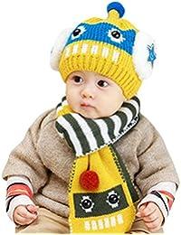Happy Cherry - Invierno Caliente Gorro Bufanda de Punto Crochet Suave Conjunto Diseño de Robot Para Bebé Niña Niño (6 - 24 meses) 7 Colores a Elegir