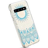 Ysimee Compatible Fundas Samsung Galaxy S10 Plus Estuches Cristal Anti-Golpes Ultra Slim Carcasa Silicona Suave Transparente Protector TPU Anti-Choque Ultra-Delgado Anti-arañazos Bumper,Mandala Azul