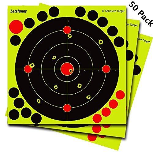 LetsFunny Schießen Ziele Splatter Ziel - Bullseye Reactive Schießen Ziel Schüsse Burst Bright Fluorescent Gelb Nach Aufprall für Gun AirSoft Rifle Pistole BB Gun Pellet Gun Luftgewehr (50 Pack)