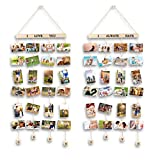 MOVEONSTEP 2 Set Cornice per Appendere a Parete Foto in Legno Collage con 4 Corde per Appendere Immagini e 32 pioli Adesivi in Legno - Colore Scuro (100 x 40 cm)