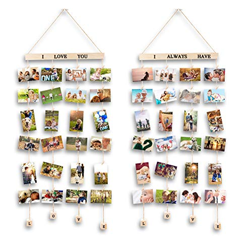 MOVEONSTEP 2 Sets Bilderrahmen Foto Wandhängend Collage Bilderrahmen Fotocollage Bilder Fotorahmen Holzbilderrahmen mit 4 Hängeseil für Bilder und 32 Holznägeln Paste- Dunkle Farbe (100 x 40 cm)