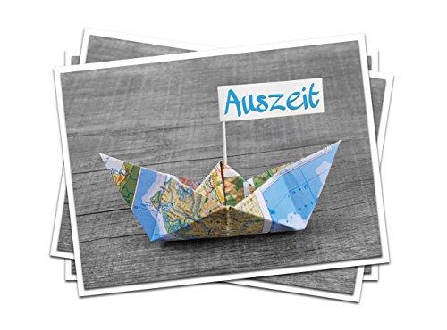 3 Stück AUSZEIT maritme blau-türkise Gruß-Klapp-Post-Glückwunsch-Karten, auch als Reise-Hotel-Wellness-Gutschein mit Segel-Schiff-Boot MIT KUVERT!